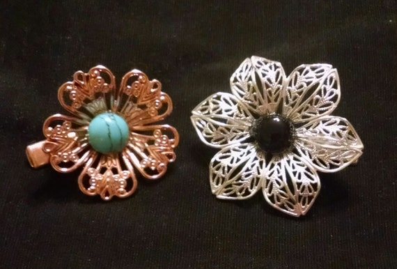 SOUTHWEST BLOSSOMS exquisite set of two natural stone tichel clips, tichel pins, hair clips