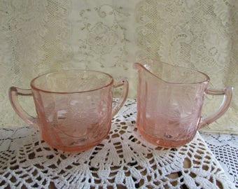 1930 Jeannette glass pink Depression VINTAGE pink Depression VTG Poinsettia pattern Creamer And Sugar