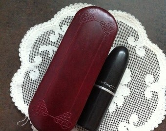 Vintage Lipstick Case - Burgandy Faux Leather - Mirrored Makeup Case - Purse Accessory - Gift for Her