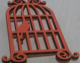 Cages Bird Pink Wooden Pin
