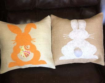 Bunny Burlap Pillow, Free with 60 dollar purchase, Easter Pillow, Bunny Pillow, Customized Bunny Pillow, Easter Egg, Spring Pillow