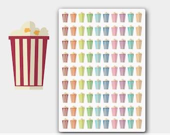 Popcorn Planner Stickers, Movie Night Stickers