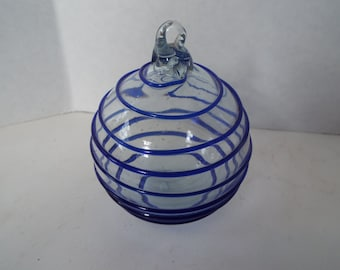 vintage hand blown glass Christmas ornament clear glass blue glass swirl