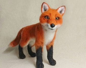 Needle Felted Realistic Cute Red Fox. Needle Felted Animal. Fox soft sculpture.