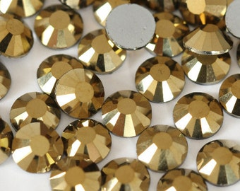 Mine Gold Glass Rhinestones - SS6, 1440 pieces - 2mm Flatback, Round, Loose Bling