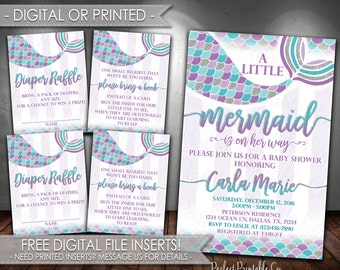 Mermaid Invitation, Mermaid Baby Shower Invitation, Mermaid Invite, Teal Aqua Purple Silver Glitter, Bundle, DIY Set, Package #500