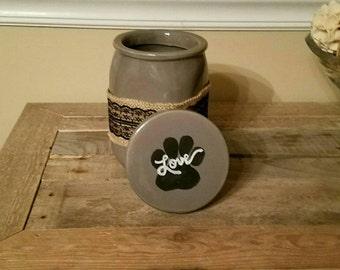 Farmhouse style hand- painted pet treat jar