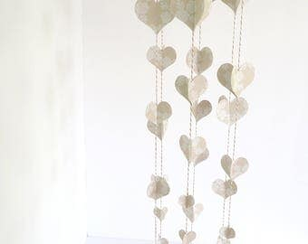 Neutral and White 3D Heart Ceiling Mobile