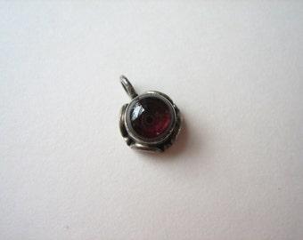 Sterling silver red gemstone pendant, dark red gemstone, red quartz pendant, small silver pendant