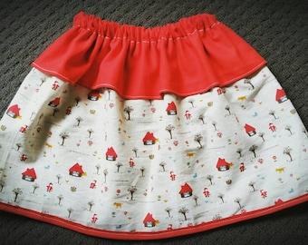 Little Red Riding Hood Skirt, Girls Clothes, Gifts for Girls, Birthday Skirt, Playwear