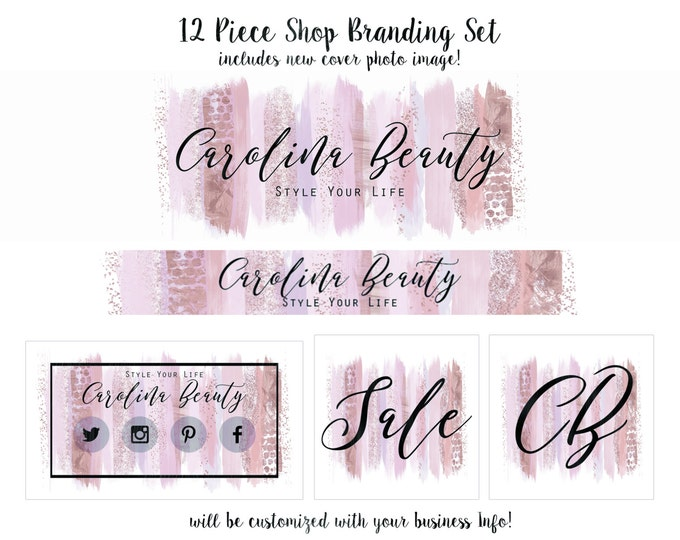 Rose Gold WATERCOLOR PAINT STROKES Branding Package -Choose Your Font- Cover Photo Etsy Shop Set Banner Logo Business Card Chic Shop Set