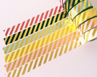 Stripe foil washi tapes // Set of 6