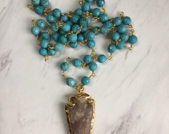 The Jasper Arrowhead Pendant Necklace, Long Turquoise Bead Necklace, Long Bead Pendant Necklace, Turquoise Necklace, Long Arrowhead Necklace