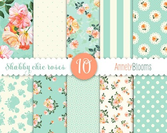 Shabby Chic Digital Paper, Digital Paper Shabby Chic, Shabby Chic Digital Pattern, Shabby Chic Digital Background, Watercolor roses, Roses