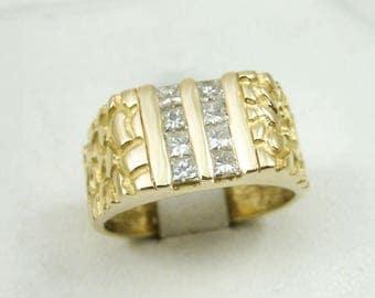 2670 14K Yellow Gold 0.64 Carat Diamond Nugget Ring Size 9, 8.7 grams, Princess