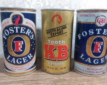 Three (3) Vintage 25 oz Beer Cans Fosters Lager 25/32 Pull Tab and Tooth KB Lager