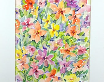 Original Watercolor, Abstract Floral Painting, Garden Painting, Abstract Garden, Abstract Watercolor, Home Decor, Gift