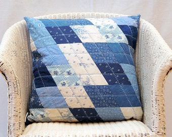 True Blue Handmade Patchwork Quilted Cushion Cover