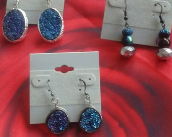 Blue sparkle earrings, faux druzy, blue bead earrings, round earrings, oval dangle earrings, teardrop earrings, Valentines day, gift for her