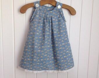 18 mth Toddlers cool summer dress. Soft Japanese cotton. Shoulder straps vintage lace hem