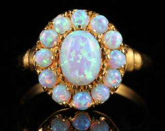 Opal Cluster Ring 18ct Gold on Silver Cultured Opals
