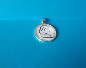 MOTHER AND CHILD glass pendant or keychain