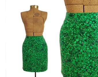 Vintage Lilly Pulitzer Skirt Aline Skirt 90s Skirt Green Skirt Floral Skirt Tropical Zipper Back Skirt Heavy Skirt Winter Skirt