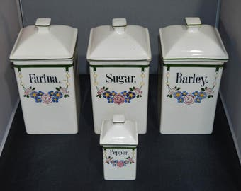 German Canister set ceramic 100+ years old!