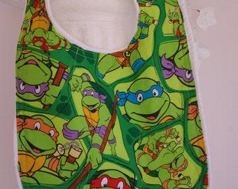 Bib Ninja Turtles terry cloth snap closure quilted bib
