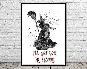 The Wizard of Oz inspired, Wicked Witch, watercolor wizard of Oz, watercolor wicked Witch, watercolor print (2460b)
