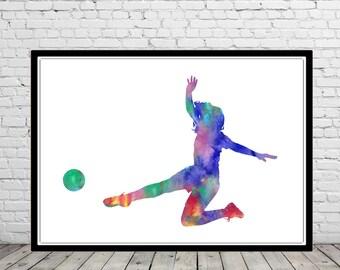 Female Soccer Player, Girls Soccer, Girl Soccer player, sport, Girl Soccer watercolor, watercolor print, watercolor sport, Poster (2979b)