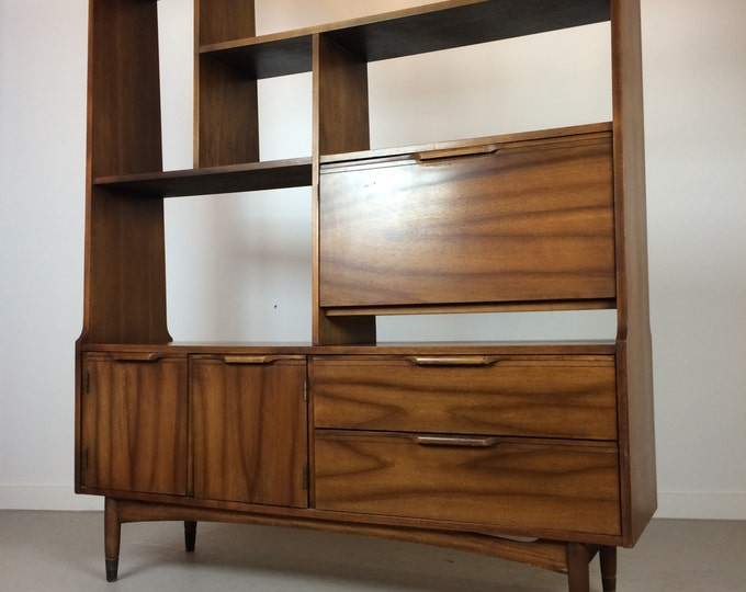 SOLD Mid Century Modern Room Divider Shelving Unit Drop Down Bar Record Cabinet