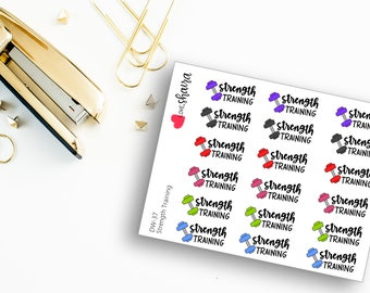 Strength Training | Dumb bells, exercise stickers, Weight lifting, fitness stickers, kettle bell - Hand Drawn Hand Lettered Planner Stickers