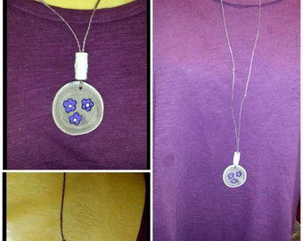 Wood Disc Necklace~Purple Flowers