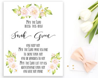 First Communion gift Blessing print Baby Name Sign Baptism  Christening Gift God bless this child Scripture art Nursery baby girl idb58