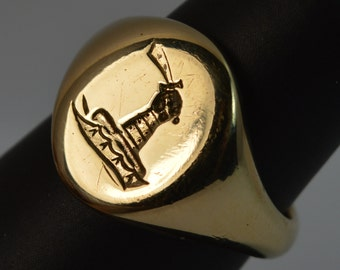 Vintage Hematite Mens Ring With Knights Head