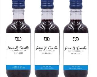 Wedding Mini Wine Bottle Labels, Custom mini wine bottle label stickers #MW19