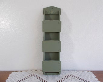 army green wood wall organizer letter mail craft room office lake house man cave beach cottage