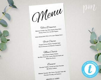 Wedding Menu Template, Printable Menu, Wedding Dinner Menu, Instant Download, Edit in Our Web App, Digital File