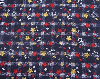 "Decorative Fabric, Star Print, Quilt Fabric, Navy Blue Fabric, Sewing Crafts, 58"" Inch Cotton Fabric By The Yard ZBC7794A"