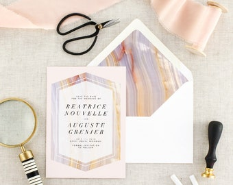 Geode Wedding Save the Date - Boho Save the Date Printed - Blush Save the Date Card - Modern Save the Date - Save Our Date - Set of 10