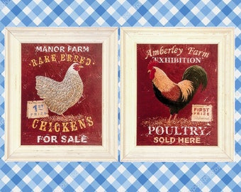 Set of 2 - FRAMED PRINTS, Rooster Art Framed, CANVAS, Poultry, Framed Chicken Prints, Amberley Farm & Manor Farm by Martin Wiscombe