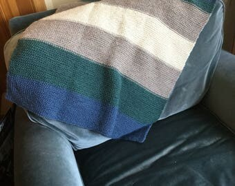 Hand knit wool baby blanket
