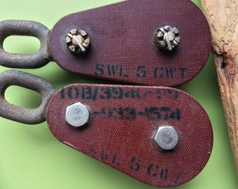 Vintage pulleys blocks , antique pulleys , vintage rollers for block and tackle , block and tackle , industrial decor , pulley blocks