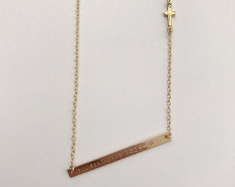Bible Verse Necklace with Cross | Religious Necklace | Cross Necklace | Bible Verse Bar Necklace