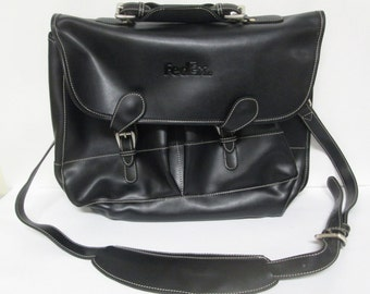 FedEx Barrington Black Leather Messenger Laptop Shoulder Bag