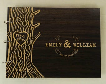 Rustic Wedding Guestbook, Sign In Book, Custom Wedding Guestbook, Personalized Scrapbook, Wood Engraved Guest book, Bridal Shower Gift PGB36