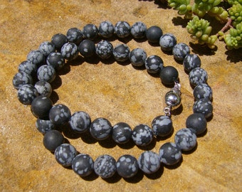 Matte Snowflake Obsidian Necklace