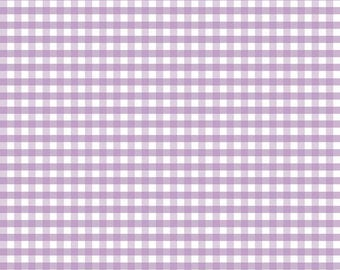 "Lavender White Medium Gingham Printed - Riley Blake Designs - 1/4"" Quarter Inch Purple Check - Quilting Cotton Fabric - choose your cut"