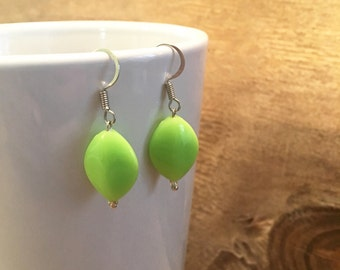 Summer Earrings - Green Earrings - Green Dangle Earrings - Bright Green Earrings - Handmade Green Earrings - Neon Green Earrings